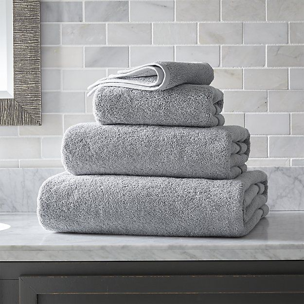 Turkish Cotton Grey Bath Towels Crate And Barrel