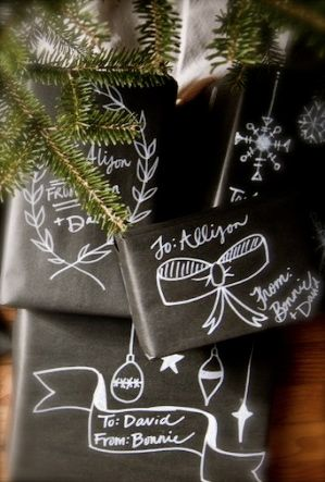 Black wrapping paper and a white marker (four types listed on page, best one is less than $4 from Amazon).  Love it, but is it too somber for Christmas?