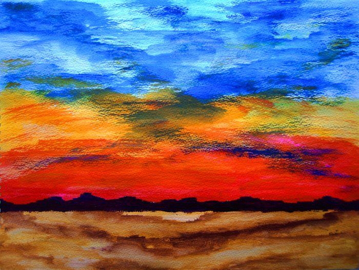 landscape - Desert Sunset by George Hunter  semi abstract acrylic landscape painting on warecolour paper depicting the sun setting over a desert landscape with a mountainous background.