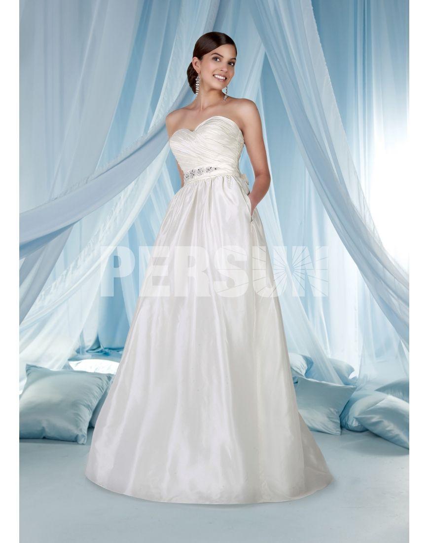 Simple Taffeta Beaded Ruching Sweetheart A-line Wedding Dress ...