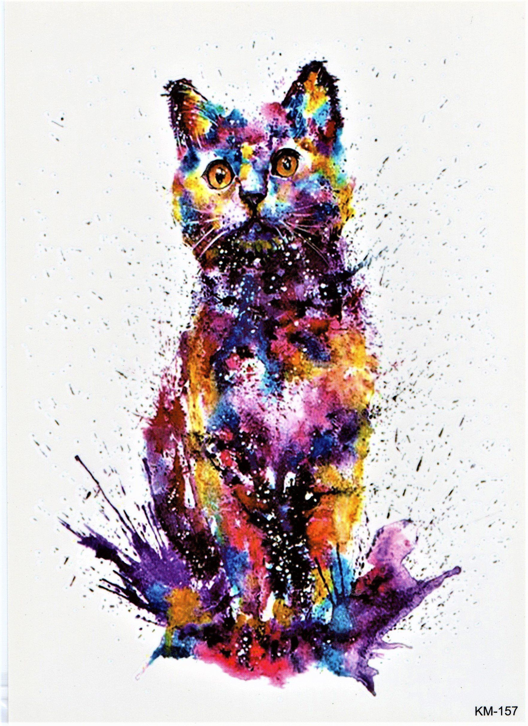 Cat Watercolor Wild Animal Colorful Temporary Body Fake