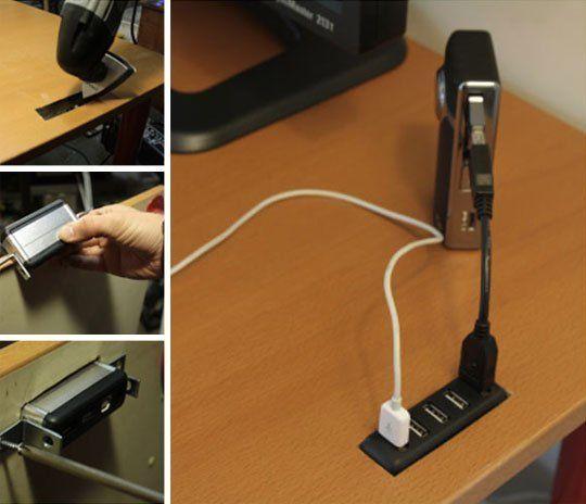 How To Hack Your Desk To Hold A Usb Hub Diy Desk Office Hacks Usb Hub