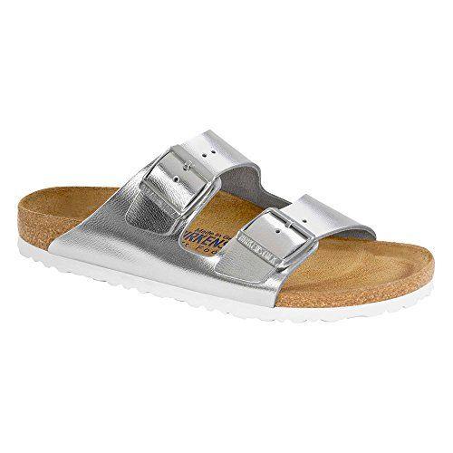Birkenstock Womens Arizona Soft Footbed Metallic Silver