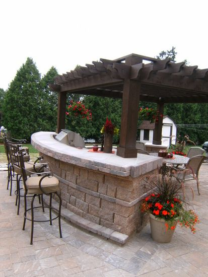 Like The Bar Kitchen And Table Combo Lots Of Seating For Everyone Would Probably Do A N Open Structur Outdoor Kitchen Design Outdoor Kitchen Backyard Patio