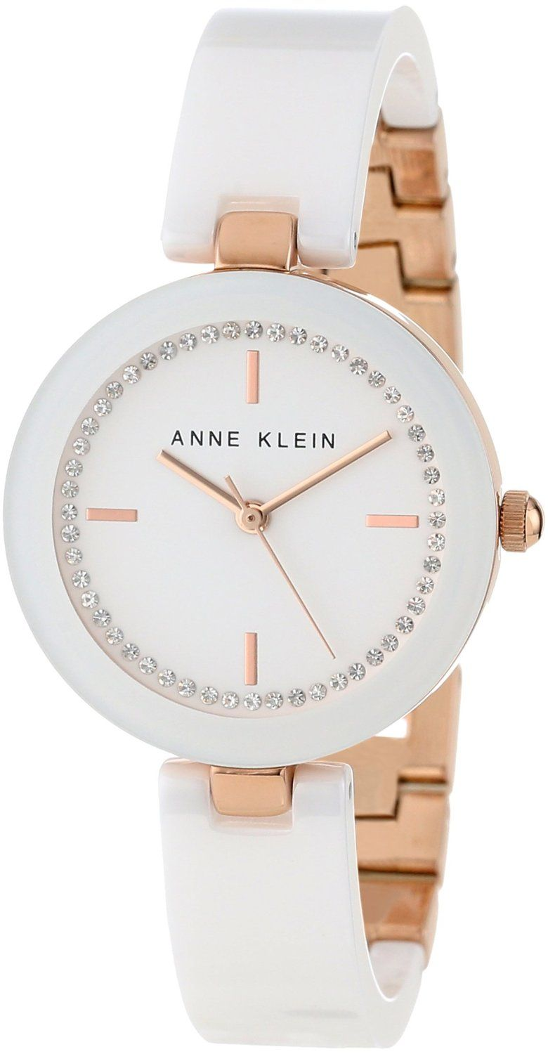 c5fa6f0dd Anne Klein Women's AK/1314RGWT Swarovski Crystal Accented Rose Gold-Tone  White Ceramic Bangle Watch : Disclosure: Affiliate link