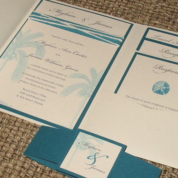 Beach Wedding Invitation Pocketfold by ThePerfectGiftShop, $600