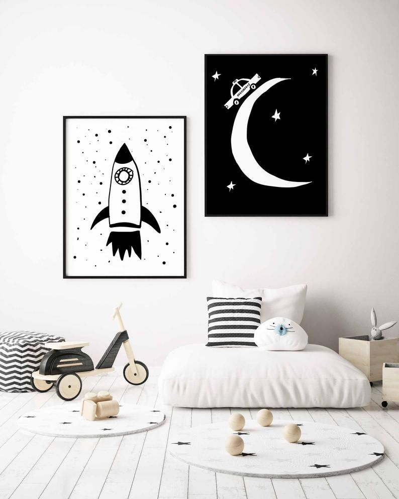 Space Wall Art Set of 2 Nursery Prints in Black and White For Toddler Room Decor, Instant Download images