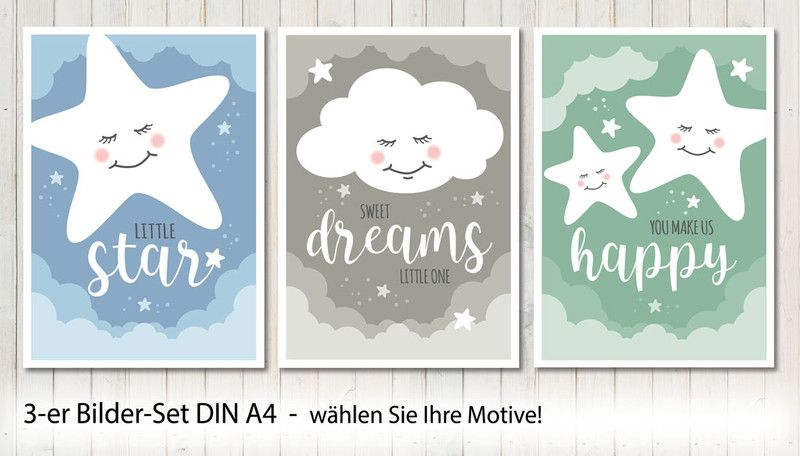 3-er Set Poster Bilder Kinderzimmer A4 / A3 | Baby posters, A4 and ...