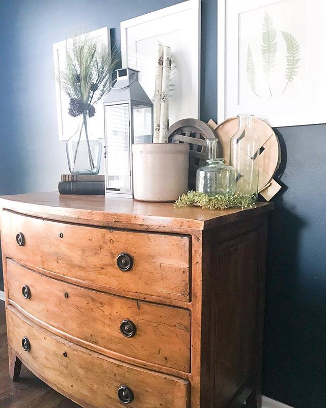 Primitive Dresser Used As A Buffet In Dining Room
