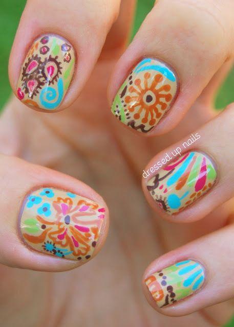 Fall floral nail art http://www.dressedupnails.com/2012/11/fall-floral-nail-art.html#
