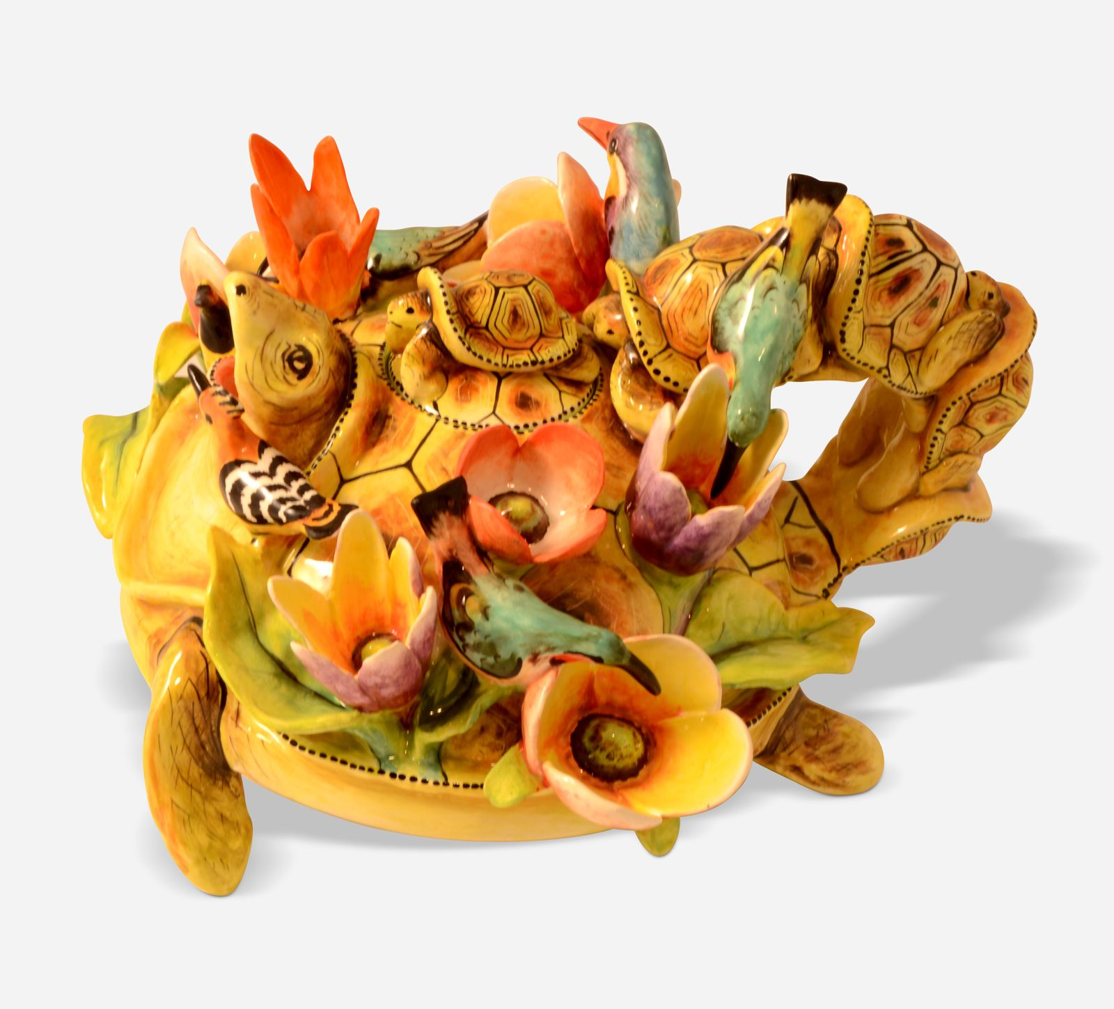 Tortoise Teapot with flowers and birds