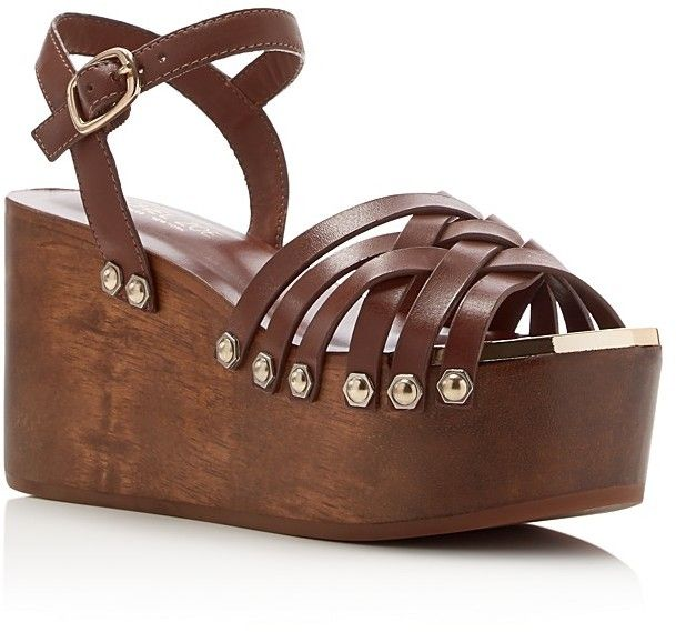 01c2dde99bad Strappy wooden wedge platform with stud detail. Rachel Zoe Mae Flatform  Clog Sandals