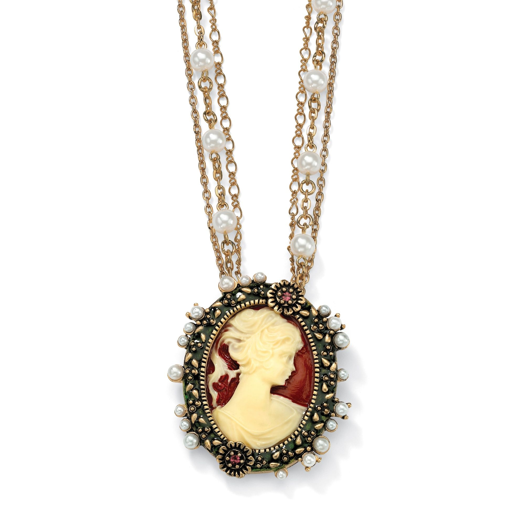 Cameo with Crystal and Simulated Pearl Accents Pendant ...