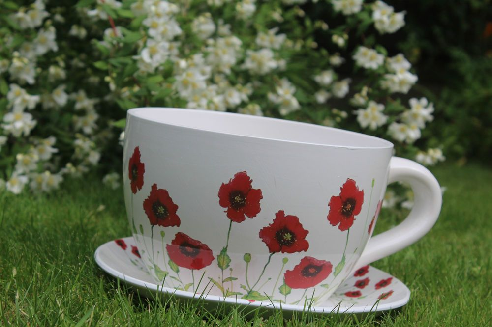 Giant Ceramic Poppy Tea Cup Amp Amp Saucer Planter Indoor Out Door Planter Red Amp Amp White In Garden Amp Patio P Ceramic Poppies Door Planter Tea Cups