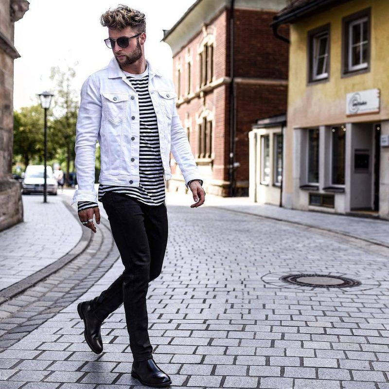 How To Wear A Denim Jacket In Style For This Fall 37 White Denim Jacket Mens Denim Outfit Men Jean Jacket Outfits Men
