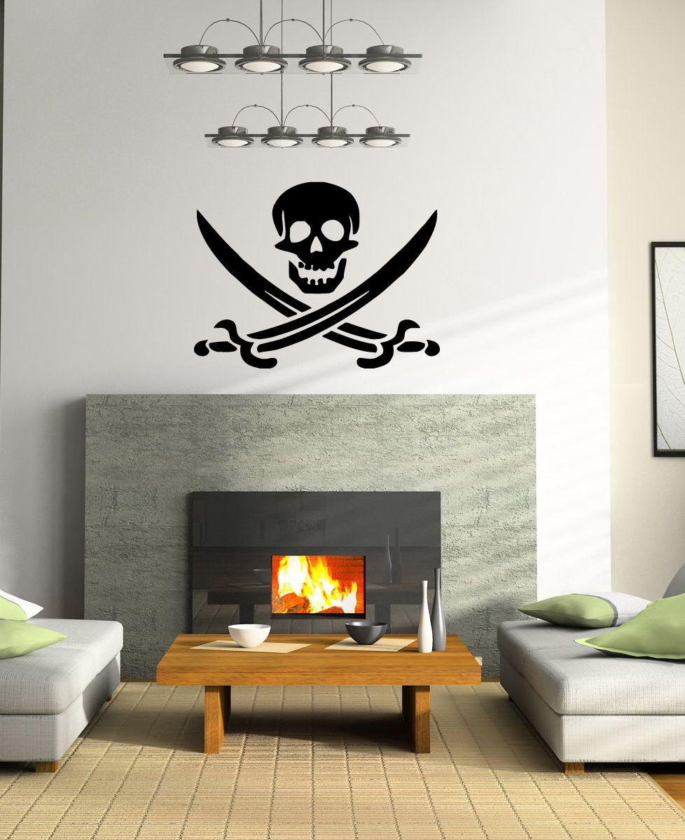 Free shipping buy best pirate sign skull with cross swords wall hope anchors the soul hebrews wall decal vinyl verse wall decal scripture amipublicfo Gallery