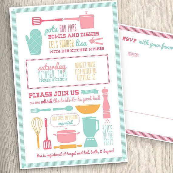 Kitchen Cooking Theme Bridal Wedding Shower Invitation With Rsvp Recipe Card Printable Diy On