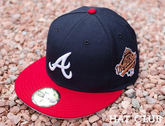 Atlanta Braves 1995 World Series Patch 59fifty Fitted Cap Hat Club Atlanta Braves Fitted Caps Caps Hats