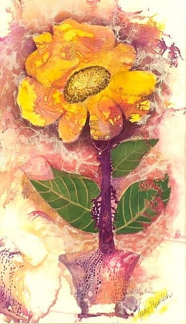 "ARTIST: Judy Heimlich TITLE: ""Sunflowe Symphony"" PRICE: $695 DESCRIPTION: Framed, watercolor, masa paper and inks"