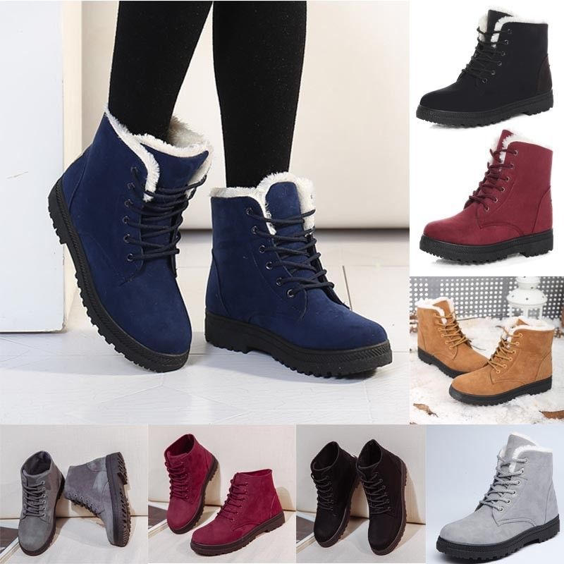 Women Ankle Boots Flats Casual Shoes winter Warm Suede Shoes