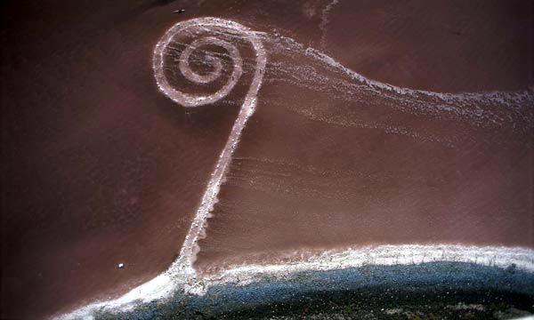 Spiral Jetty {Earthwork Art by Robert Smithson, Great Salt Lake, Utah}