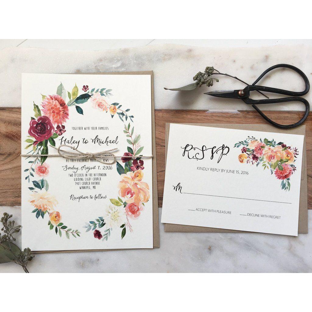 Boho Chic Floral Wedding Invitation, Rustic Wedding Invitation ...