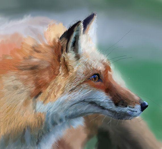 Fox Painting Print Art Print Red Fox  By Paleblueunicorn 5 25