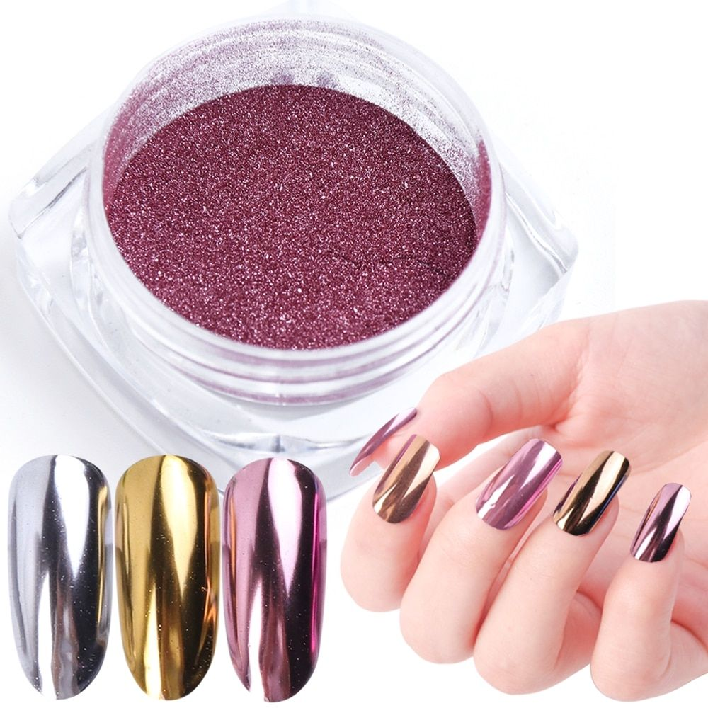 Nail Art Mirror Pigment Powder Nail Glitter Dip Powder Rose Gold Shining Chrome Powder Decoration UV...