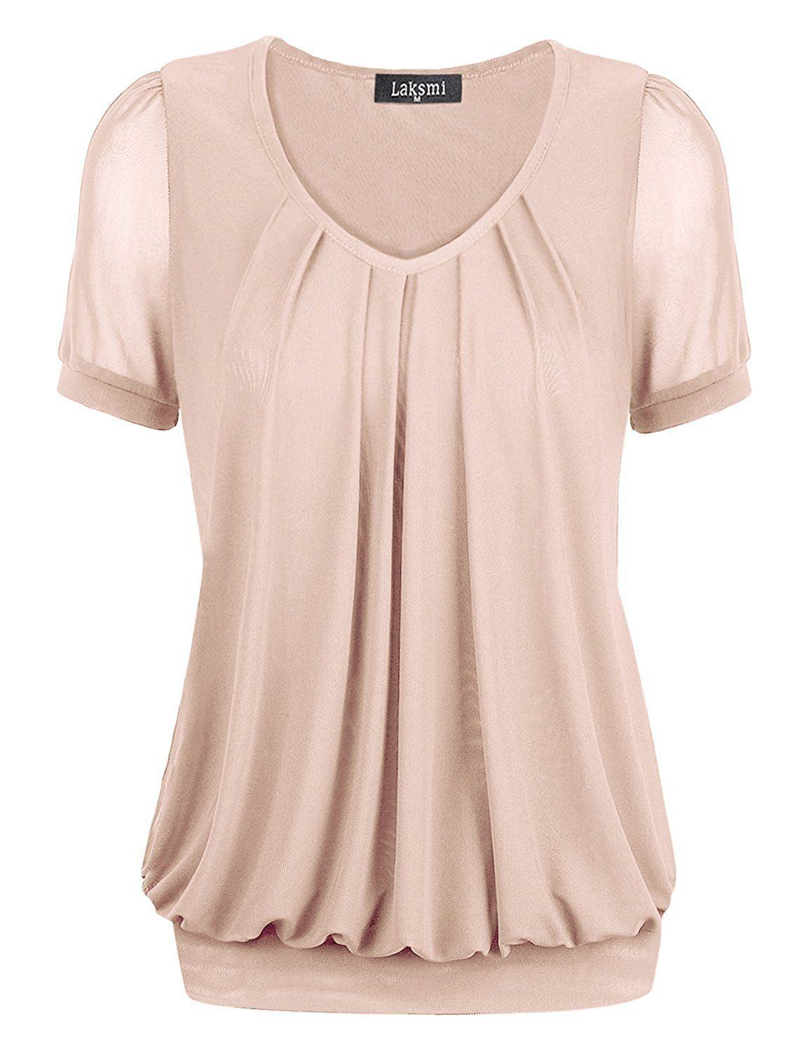 60a504f8859 Laksmi Women's Short Sleeve V-Neck Front Pleated Dressy Tunic Tops at  Amazon Women's Clothing store: