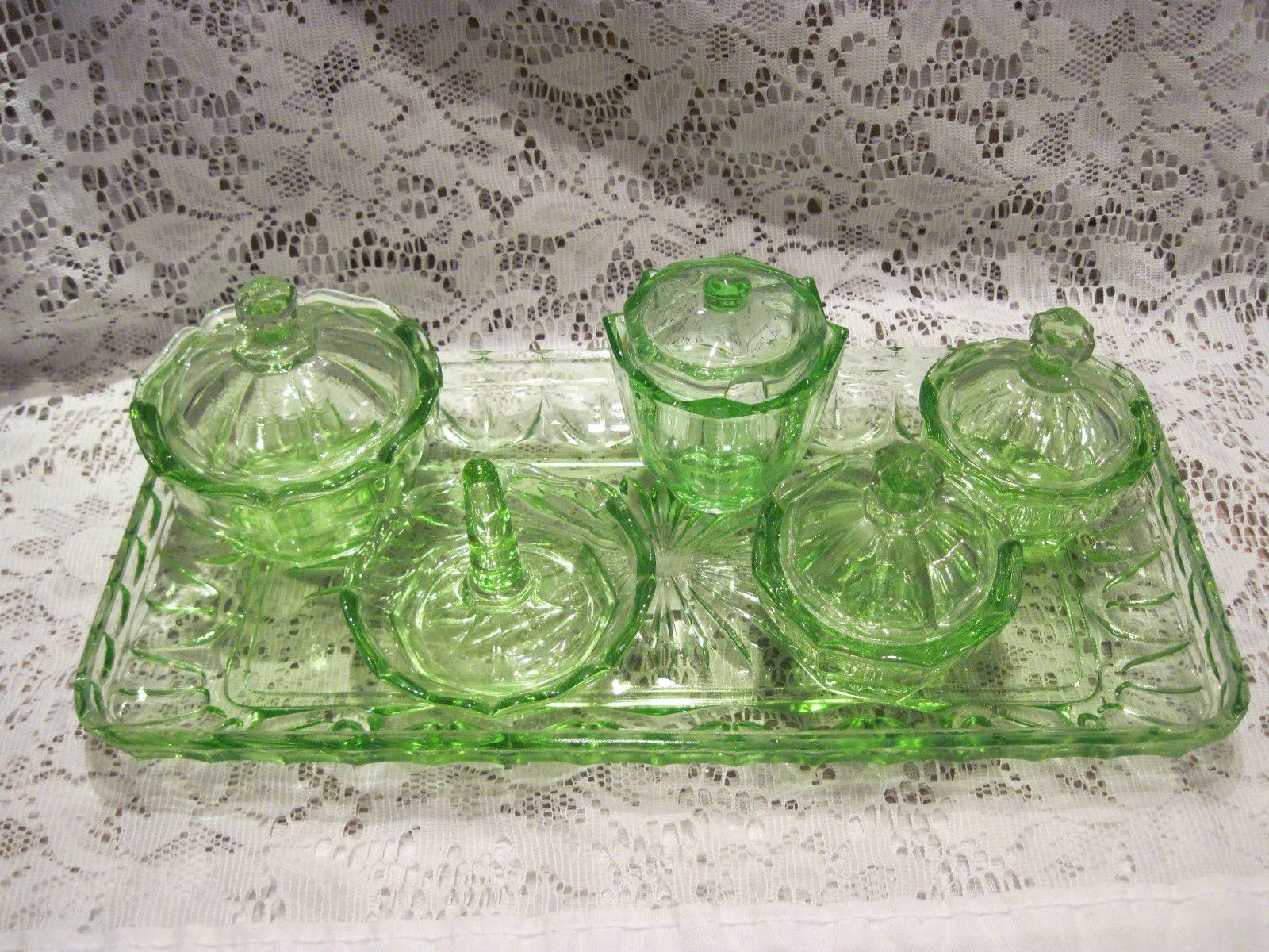 details about green vaseline depression glass dresser vanity set  - details about green vaseline depression glass dresser vanity set   pieces