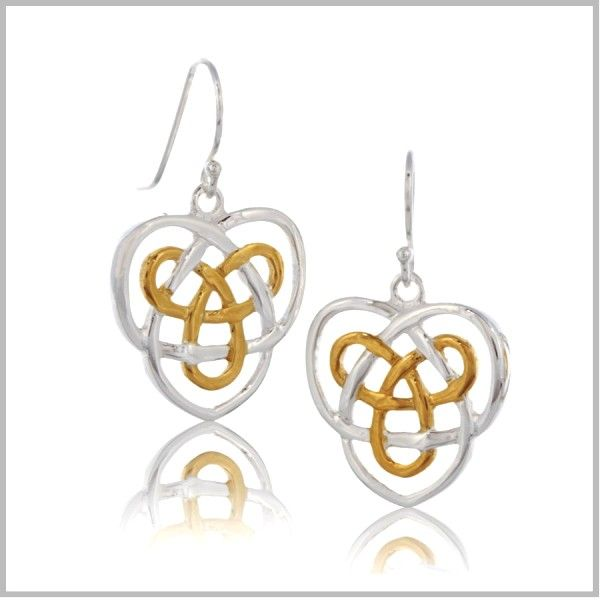Celtic Infinity Knot and Heart Earrings on 925 Silver Hoops