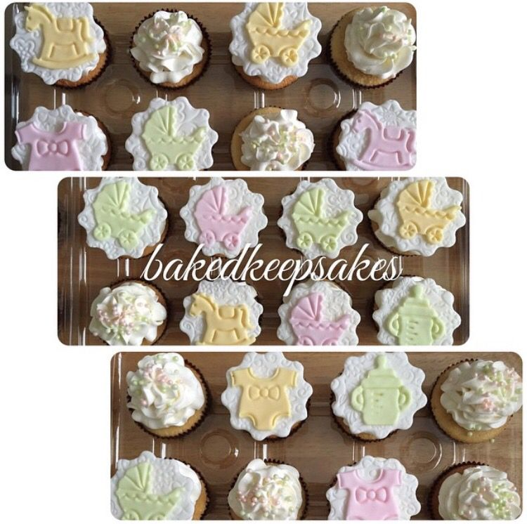 Baby shower cupcakes made by Baked Keepsakes.