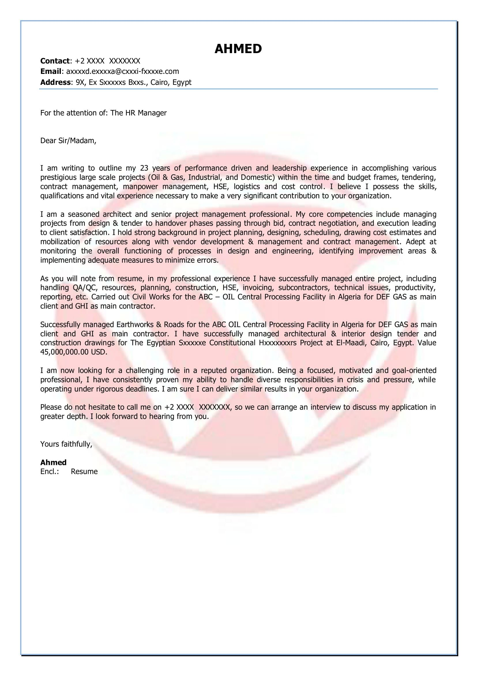 Project Manager Cover Letter Creative Construction Project ...