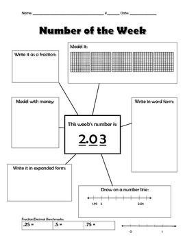 Fourth Grade Number of the Week: Decimals (4 pages)