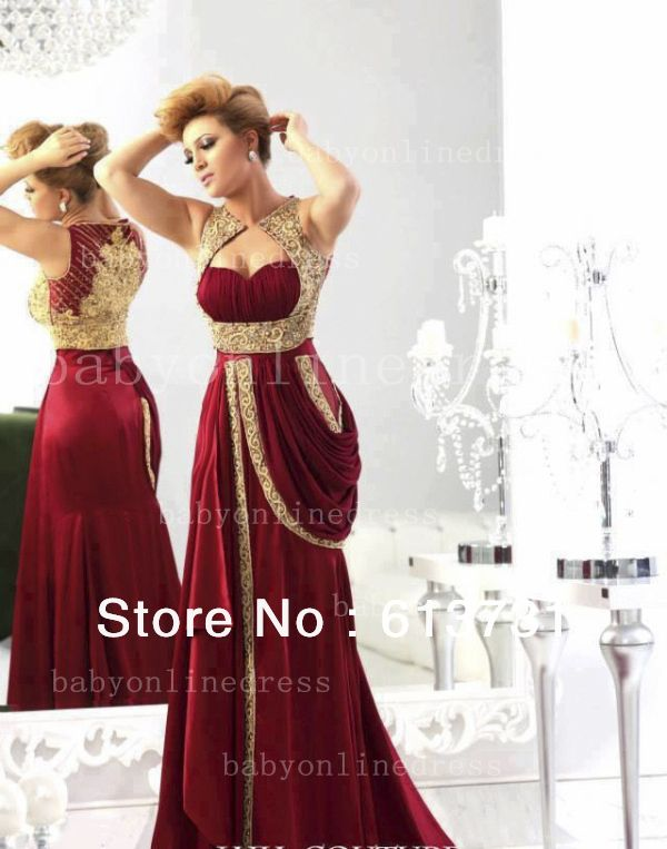 2014 New Arrival Sweetheart Satin Burgundy Prom Dress Runway Gold  Embroidery Crystal Beaded Arabic Evening Dresses Long BO1742  179.00 1723a9b6be1d