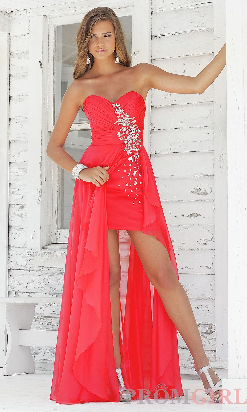 Strapless high low prom gown by blush soon to be prom dresses