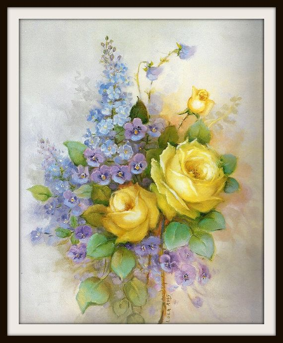 Yellow Roses, Purple Pansies, Blue Lilacs Still Life Book Print ...