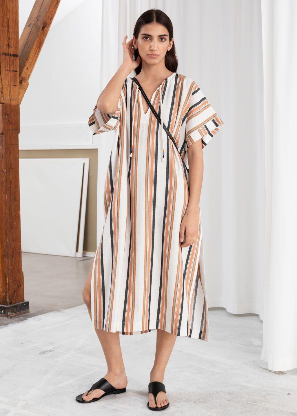 Pinstripe Half Sleeve Linen Blend Midi Kaftan Dress with Pockets