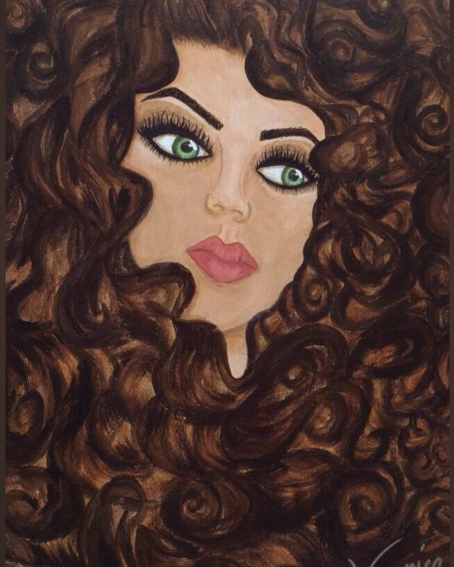 Virgo Maiden Curly Hair Acrylic Painting Hair Painting Painting People Girls Night Crafts