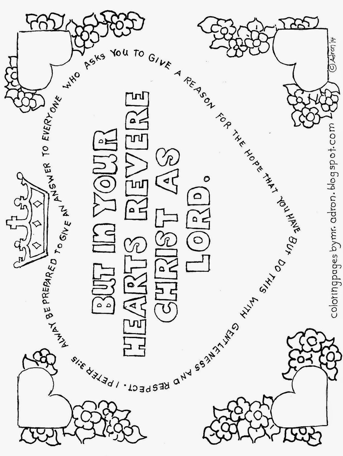 Coloring Pages For Kids By Mr Adron In Your Hearts Revere Christ 1 Peter 3 15 Colorin