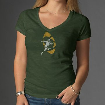GREEN BAY PACKERS Legacy Bottle Green V-Neck Scrum Tee Womens