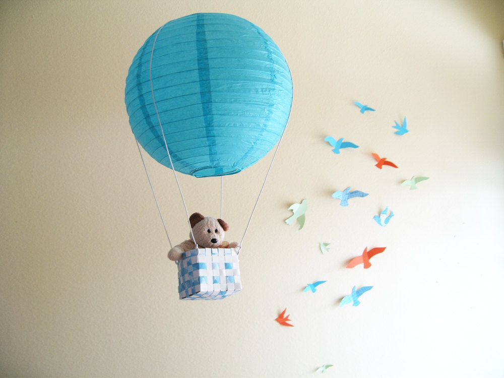 Hot Air Balloon Blue Boys Room Decor