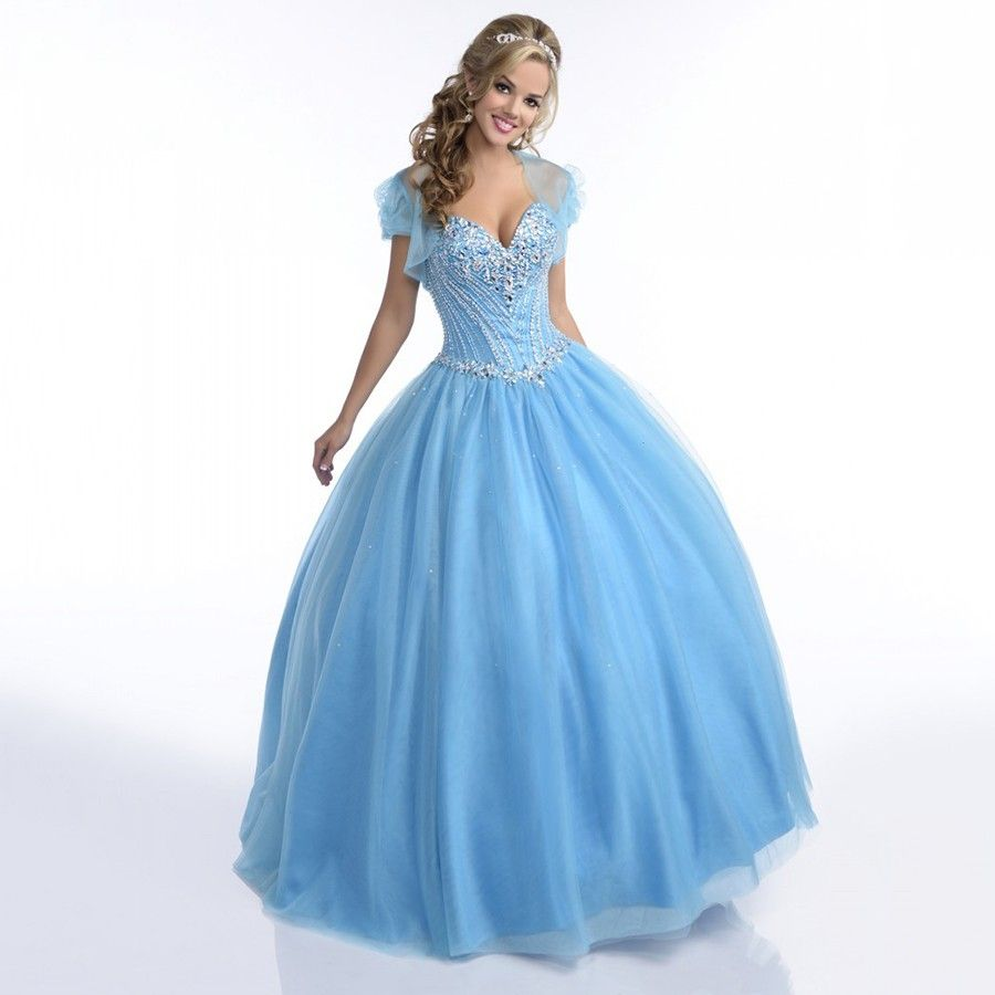 Click to Buy << Light Blue Quinceanera Dresses 2016 with Crystals ...