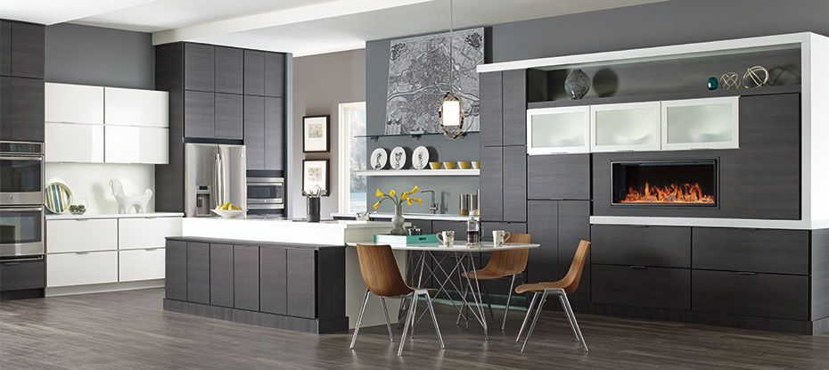 High Quality Troxel And Taro Laminate Kitchen Cabinets In Obsidian And High Gloss White