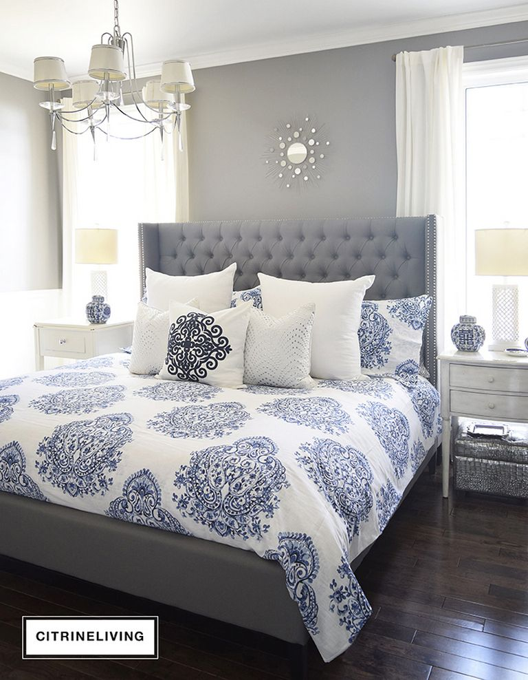 This Beautiful Blue And White Bedroom Accented With A Mix Of Cool Warm Metals Is Elegant Inviting