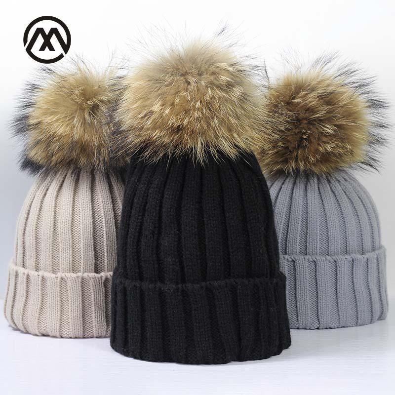 Women s Cute Fur Ball Top Knitted Beanies  Fur Toque Hats in 2019 ... 61de73853ce