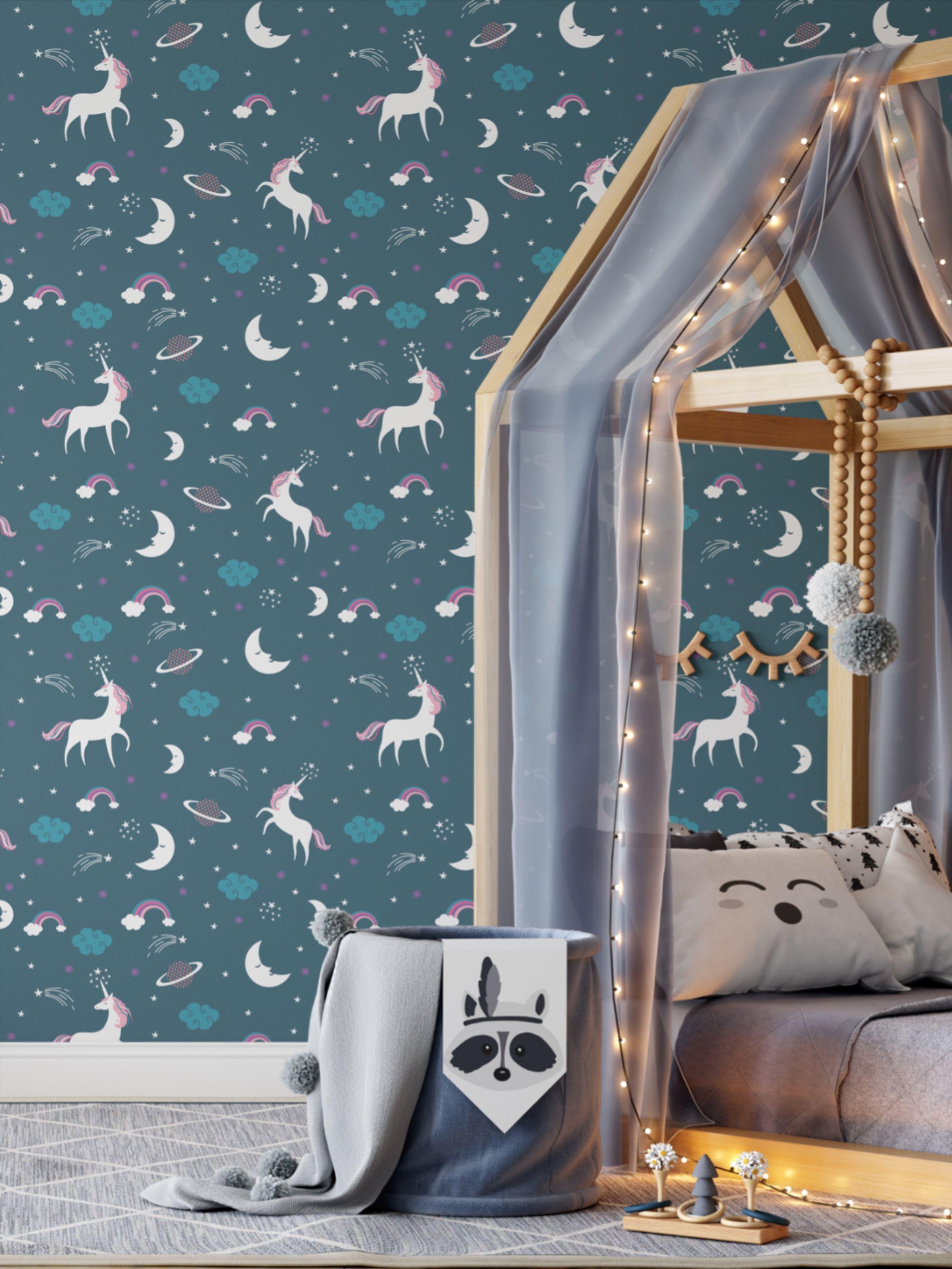 Teal Unicorn Kids Room Wallpaper / Dark Self Adhesive Wall