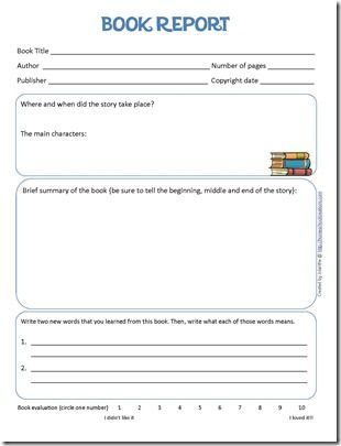 Book Report Form and Reading Log Printables Learning, Books and - event summary report template