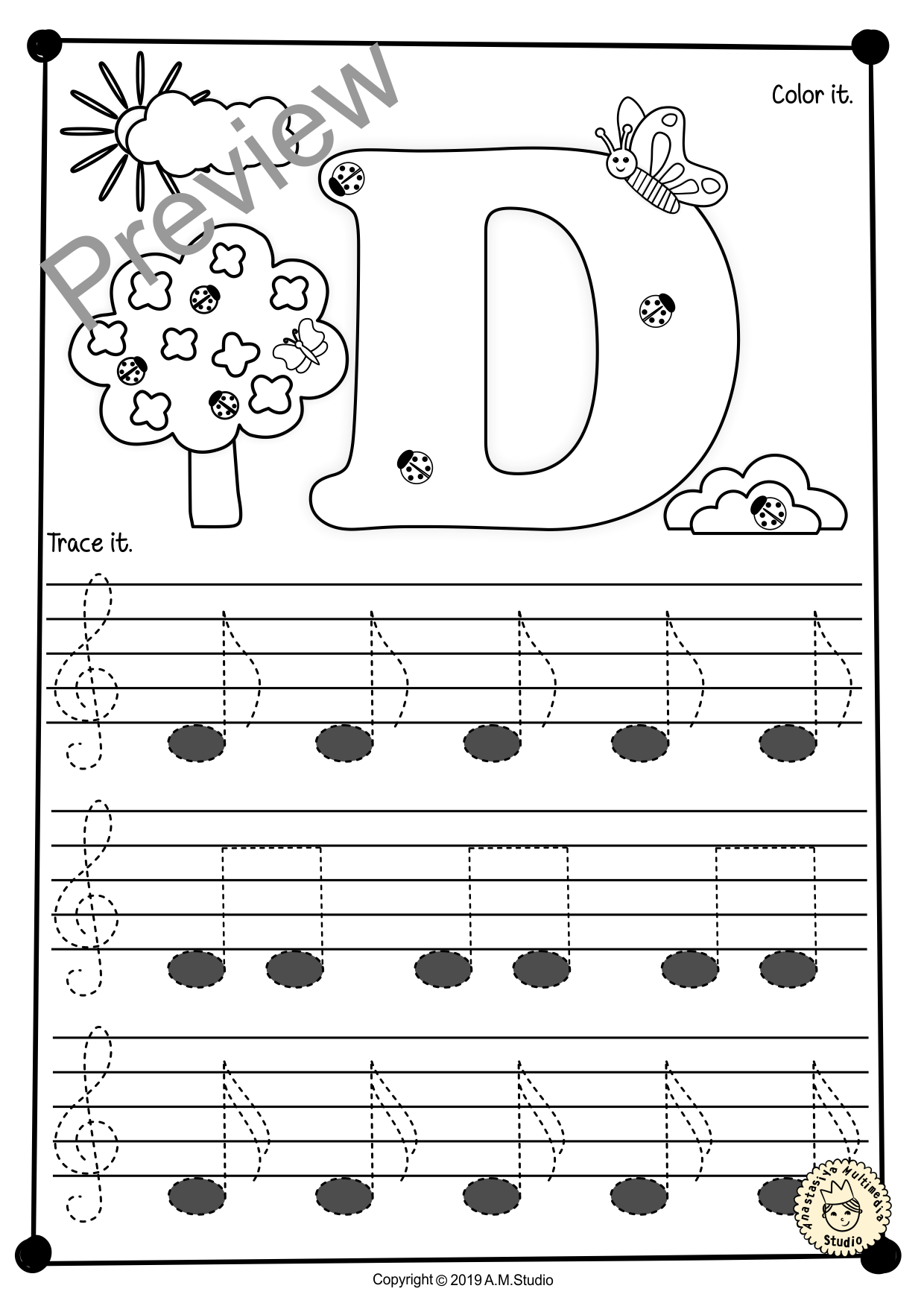 Treble Clef Tracing Music Notes Worksheets For Spring In