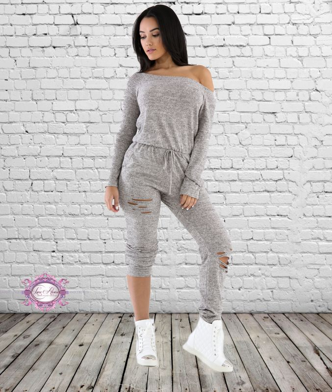 dadafc617f01 Destroyed Jogger Jumpsuit - Luxe Aloure